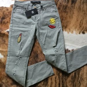 🚀HP🚀 Khaki Green Cotton Jeans with Cute Patches